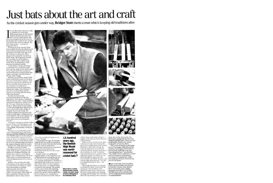 Salix cricket gear reviews press cuttings for The cricket arts and crafts